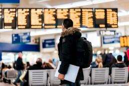 Person at airport terminal